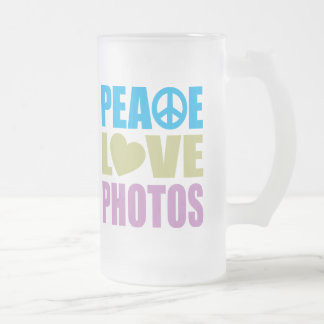 Peace Love Photos 16 Oz Frosted Glass Beer Mug