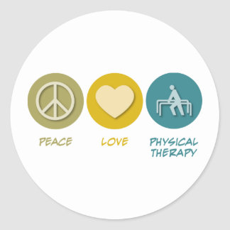 Peace Love Physical Therapy Classic Round Sticker