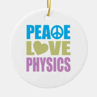 Peace Love Physics Christmas Tree Ornaments