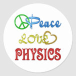 PEACE LOVE PHYSICS CLASSIC ROUND STICKER