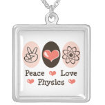 Peace Love Physics Sterling Silver Necklace