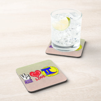 PEACE LOVE Pi 3.1415 Beverage Coaster