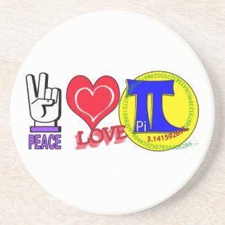 PEACE LOVE Pi 3.1415 Drink Coaster