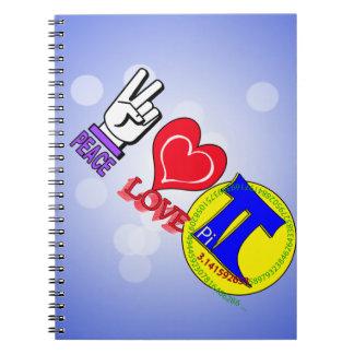 PEACE LOVE Pi 3.1415 Spiral Notebook