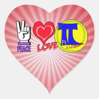 PEACE LOVE Pi 3.1415 Heart Sticker