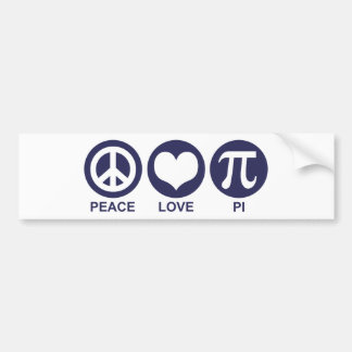 Peace Love Pi Car Bumper Sticker