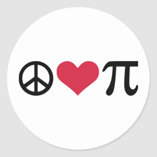 Peace, Love & Pi Classic Round Sticker