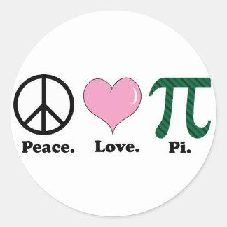 peace love pi classic round sticker