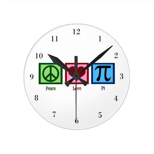 Peace Love Pi Round Clock