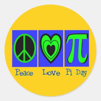 Peace Love Pi Day Classic Round Sticker