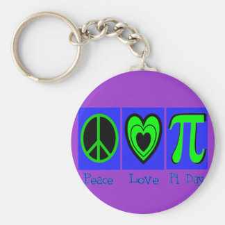 Peace Love Pi Day Keychain