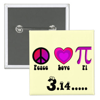Peace Love Pi Day Pinback Button