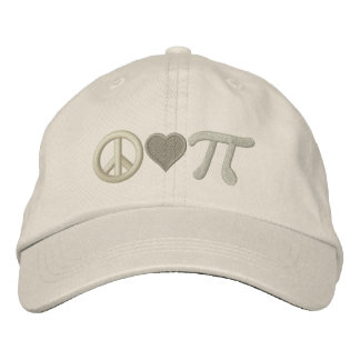 Peace Love Pi Embroidered Baseball Hat
