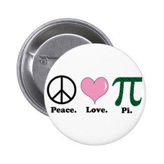 peace love pi pinback button
