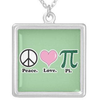 peace love pi square pendant necklace