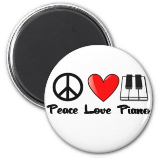 Peace, Love, Piano 2 Inch Round Magnet