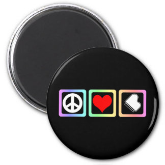Peace love piano 2 inch round magnet
