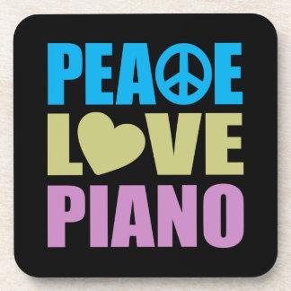 Peace Love Piano Drink Coasters