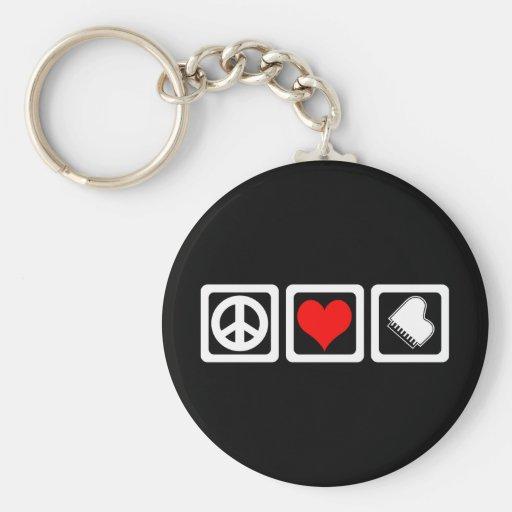 Peace love piano keychain