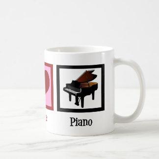 Peace Love Piano Classic White Coffee Mug