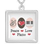 Peace Love Piano Necklace