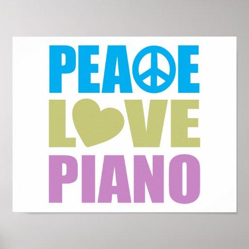 Peace Love Piano Poster