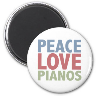 Peace Love Pianos 2 Inch Round Magnet
