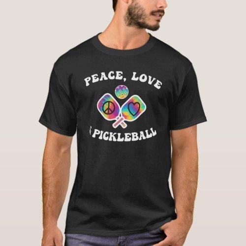 Peace Love & Pickleball Groovy Paddles T-Shirt