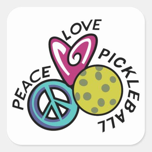 Peace Love Pickleball Square Sticker