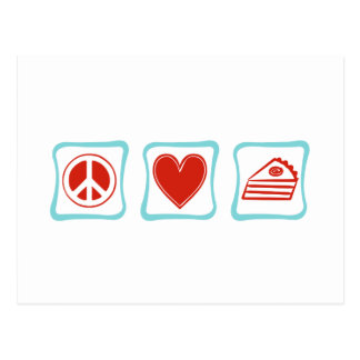 Peace Love Pie squares Post Cards