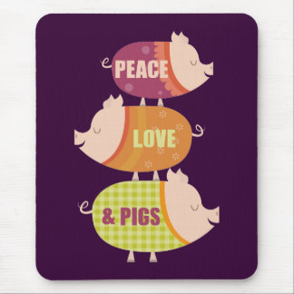 Peace Love Pig Stack Mouse Pad