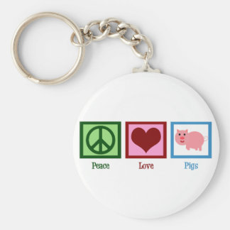 Peace Love Pigs Basic Round Button Keychain