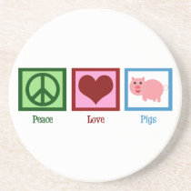 Peace Love Pigs Drink Coaster
