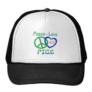 Peace Love Pigs Hats