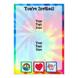 Peace, Love, Pigs 5x7 Paper Invitation Card