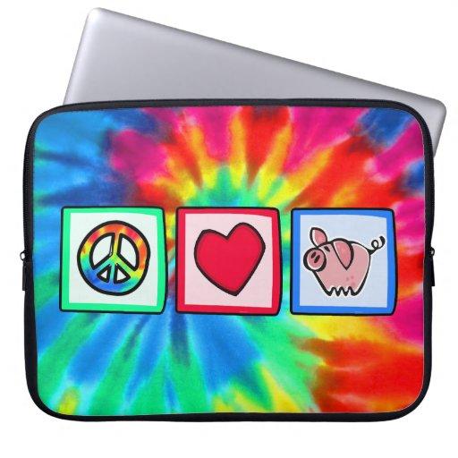 Peace, Love, Pigs Laptop Computer Sleeve