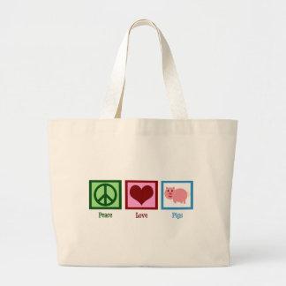 Peace Love Pigs Large Tote Bag