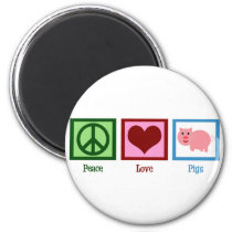 Peace Love Pigs Magnet