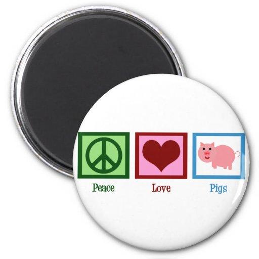 Peace Love Pigs Fridge Magnets