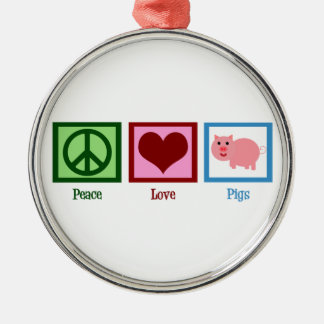 Peace Love Pigs Round Metal Christmas Ornament