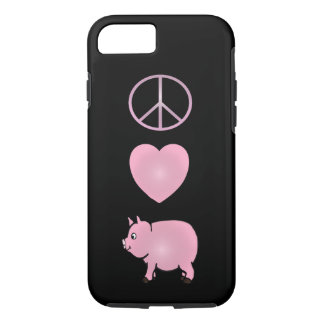 Peace, Love, Pigs, Pink Pig iPhone 7, Tough iPhone 8/7 Case
