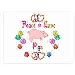 PEACE LOVE PIGS POST CARD