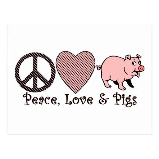 Peace, Love & Pigs Postcard