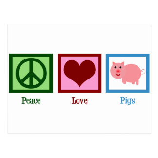 Peace Love Pigs Postcard