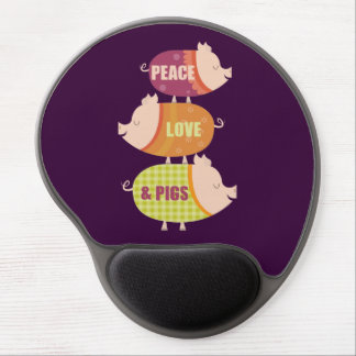 Peace, Love & Pigs (stack) Gel Mouse Pad