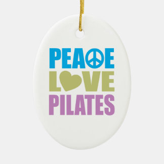 Peace Love Pilates Double-Sided Oval Ceramic Christmas Ornament