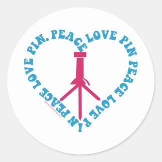 PEACE - LOVE - PIN CLASSIC ROUND STICKER