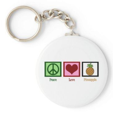Valentines Themed Peace Love Pineapple Keychain