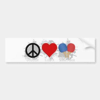 Peace Love Ping Pong Emblem Bumper Sticker
