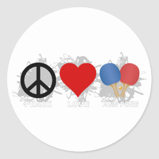 Peace Love Ping Pong Emblem Classic Round Sticker